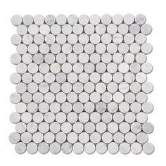 SAMPLE Carrara (Carrera) Bianco Penny Round Mosaic