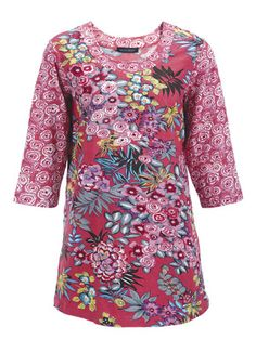 Floral Duo Print Knit Tunic at Ulla Popken.  $60