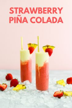 If you like piña coladas.you'll love this sweet, refreshing strawberry version! Blend some up to enjoy on a summer afternoon. Hold the rum for a mocktail version. Alcoholic Cocktails, Fruity Cocktails, Frozen Cocktails, Refreshing Drinks, Yummy Drinks, Summer Cocktails, Party Food And Drinks, Fruit Drinks, Dessert Drinks