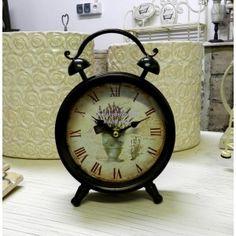 69zł, Retro Zegarek Budzik Wazon z Lawendą to metalowy zegar o kształcie budzika.