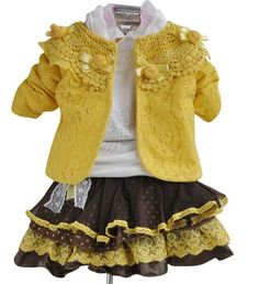 Too stinking cute.....love the yellow lace jacket with crocheted collar.....sweet