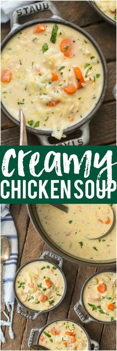 This CREAMY CHICKEN SOUP is my absolute favorite soup on the planet! This is the best soup ever. Everyone always asks for this EASY recipe! The ultimate comfort food for Fall! #creamychickensoup #chickensoup #comfortfood #soup #bestsouprecipe via @beckygallhardin