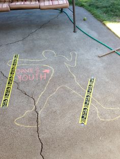 Chalk outline of my husband's youth for his 50th surprise party