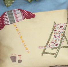 ON THE BEACH Cushions  Deckchair and Umbrella by peppermintfizz, $80.00