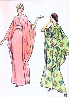 1970s ELEGANT Robe Caftan Hostess Gown Pattern VOGUE 8551 Dramatic Batwing Cape Kimono Sleeves Evening Lounging Length Bust 36 Vintage Sewing Pattern FACTORY FOLDED