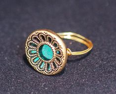 Gold and Green Ring, vintage button ring