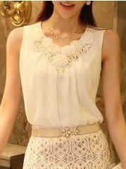 Ladylike  Chiffon Solid Pure Sleeveless-t-shirt
