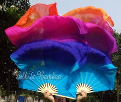 """1 pair Chinese belly dance silk fan veil, turquoise-blue-purple-pink-orange, 36"""" x approx 72"""""""