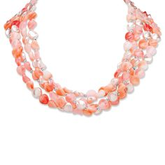 An ethereal assemblage of lucite beads in soft tones of pink and silver, make up one of the loveliest necklaces we've se-UiSQsD3v