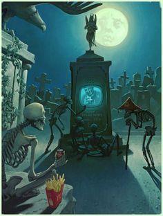 Discover the gorgeous Art of Waldemar von Kozak, an artist/illustrator based in Russia. Illustrations, Illustration Art, Skull And Bones, Red Riding Hood, Skull Art, Night Time, Les Oeuvres, Fantasy Art, Creepy