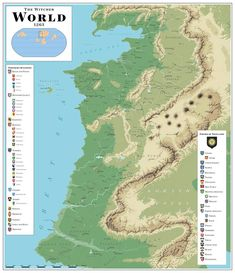 The Witcher Map by SalesWorlds on DeviantArt Fantasy World Map, Rpg Map, Book Writing Tips, Fantasy Drawings, The Witcher 3, Science Fiction Art, Dark Fantasy Art, Monster Hunter, Cartography