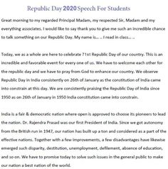 Speech on Republic Day in Hindi 2020 Essay, Nibandh, Bhashan English Speech, English Grammar, Republic Day Speech, Best Speeches, Give It To Me, Swami Vivekananda, Teacher, Sayings, Students