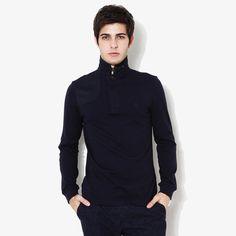 [SLIM] 스웨이드 패치 장식 네이비 카라 티셔츠