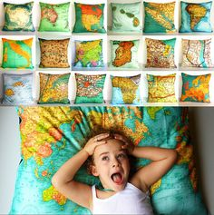 Map throw pillows and cushions from My Bearded Pigeon: dream up your travel plans while sleeping on these!