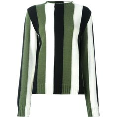 MSGM striped jumper ($331) ❤ liked on Polyvore featuring tops, sweaters, stripe top, striped jumper, patterned tops, patterned sweaters and striped sweater