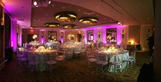 Wedding reception setup with silver linens and purple up lights at the Terrace Ballroom of Lansdowne Resort Lansdowne Resort, Wedding Reception, Wedding Venues, Milestone Birthdays, Corporate Events, Birthday Celebration, Washington Dc, Linens, Birthday Candles