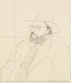 henry geldzahler with hat, david hockney [1976].