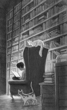 """""""En la #horabruja los #gatos y los #libros son la mejor compañía ¡Buenas noches!"""""""