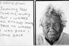 I come from Jigalong they took me away but I walked all around country back to where I was born I came back. Daisy Kadibil talks about her escape along the rabbit proof fence, 2009 / sister of Molly Craig who walked the fence more than once in her life. Aboriginal History, Aboriginal Culture, Aboriginal People, Aboriginal Art, Aboriginal Children, Indigenous Education, Indigenous Art, Australian Aboriginals, Teaching History