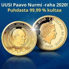 """100 vuotta sitten vietettiin Antwerpenin olympiakisojen avajaisia. Ne olivat ensimmäiset olympialaiset, joihin Suomi osallistui itsenäisenä valtiona. Samoissa kisoissa 23-vuotias Paavo Nurmi voitti ensimmäiset olympiakultansa ja aloitti huikean matkan yhdeksi kaikkien aikojen menestyneimmäksi urheilijaksi.  Juhlavuoden kunniaksi on julkaistu uusi kultaraha """"Paavo Nurmi Antwerpenin olympialaisissa"""". Raha on puhdasta 99,99 % kultaa ja parasta proof-keräilylaatua. Lyöntimäärä vain 1000 kpl. Money, Personalized Items, Historia, Silver"""