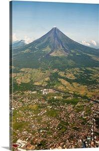 Aerial view of mayon Volcano and Cityscape of Legazpi at morning in Philippines.