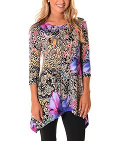 Look what I found on #zulily! Purple & Black Paisley Sidetail Tunic - Plus…