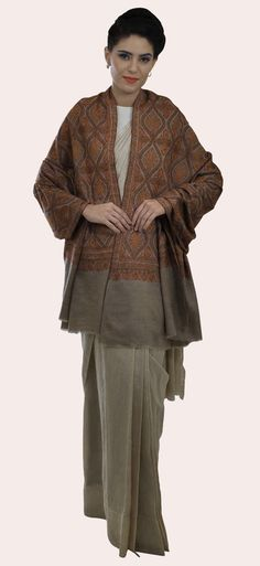 Natural Jamawar Sozni Hand Embroidered Pure Pashmina Shawl