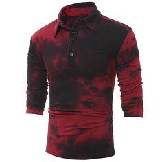 LianXiYou Mens Turn-Down Collar Long Sleeve Button Down Simple Floral Shirt