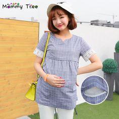 f188857e0 Cheap Blusas a cuadros de maternidad para mujeres embarazadas verano  enfermería estilo ropa maternal lactancia Tops