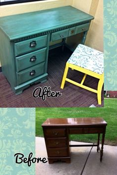 Little Bassett wood desk painted with DIY chalk paint and then glazed with Minwax stain. I changed out all of the drawer pulls and lined the drawers with scrapbooking paper and wallpaper paste. Finished with one coat of spray polyurethane and on the top did one more coat of wipe on Poly. #stainasglazedesk #painteddeskblackglaze