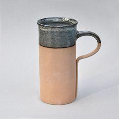 Beer Mug 19 oz Contemporary Ceramic Teal Beige Blue by BoiiStudio
