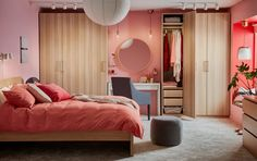 Here's how to create a luxurious, yet affordable bedroom. IKEA PAX/FORSAND in white stained oak effect, combined with matching furniture, does the job. Ikea Pax, Bedroom Furniture, Home Furniture, Bedroom Decor, Ikea Interior, Ikea Home, Comfy Bed, Bedroom Storage, Luxurious Bedrooms