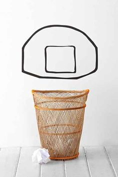 Basketball Backboard Wall Decal - from urban, make it with fucking washi tape duh Tape Wall Art, Washi Tape Wall, Tape Art, Vinyl Wall Art, Wall Decals, Basketball Backboard, Basketball Wall, Basketball Gifts, Diy Inspiration