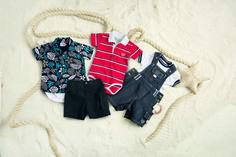 Body camisa estampada com bermuda Body polo listrada Salopeti jeans Menino Menina