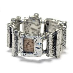 Contemporary pewter bracelet treble clef by BijouChantaleGelinas.   #musicgift #musiciangift
