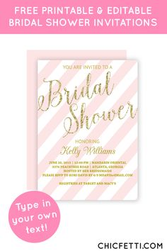 Free Printable Gold Glitter Bridal Shower Invitations from @chicfetti