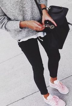 summer outfits Black. White. Grey. Everyday Style. Pink Adidas Trainers.