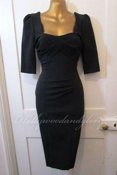 WOW.. Womens Black Stretch Satin Bodycon Sequin Party Dress Sz/'s 8 10 12