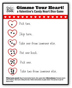 Gimme Your Heart Valentines Candy Heart Dice Game 2 Valentine party My Funny Valentine, Valentines Day For Boyfriend, Valentines Games, Valentines Day Activities, Valentines Day Party, Valentine Day Crafts, Valentine Ideas, Holiday Activities, Kid Activities