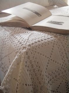 . . . Cabin & Cottage | white throw; Inspiration only (no pattern). Very pretty!