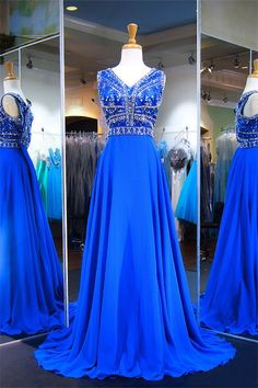 A Line V Neck Sleeveless Long Royal Blue Chiffon Beaded Prom Dress