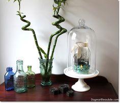 decorating with vintage finds. Dagmar's Home, DagmarBleasdale.com #vintage #bottles #milkglass #cloche #DIY #bamboo #masonjar
