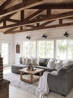 Vaulted ceiling wood beams living room modern farmhouse