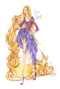 Guillermo García Meraz, art, illustration, fashion, fashion sketches, high fashion, Disney, fan art, film, Rapunzel