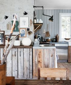 Wood plank cabinets
