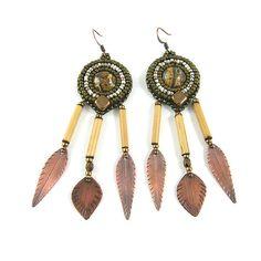 Long ethnic earrings bead embroidery beadwork by Taurielscraft, $45.00