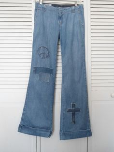 Size 10L Womens Redesigned Bell Bottom Blue Jeans upcycled refashioned hippie boho bohemian gypsy cowgirl glam clothes bellbottoms patched by LandofBridget