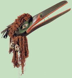 Kwakwaka'wakw (Kwakiutl) Raven mask collected at Xwamdasbe', Tsaxis, Vancouver Island in 1881 --  Berlin Museum of Ethnology