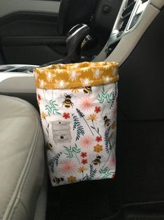 cute cars accessories Excited to share this item from my shop: Bee, Hive, Flower Car Trash Bag/Waterproof Lining Hippie Auto, Hippie Car, Trash Can For Car, Car Trash Bags, New Car Accessories, Flower Car, Bee Flower, Girly Car, Car Interior Decor