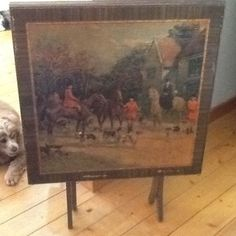 VINTAGE / ANTIQUE HUNTING SCENE PICTURE TOP FOLDING CARD TABLE BRIDGE TABLE  #Unknown